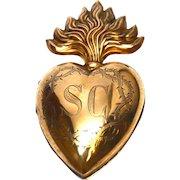 Large Antique Nineteenth Century Gilded Brass Sacred Heart Reliquary Ex Voto