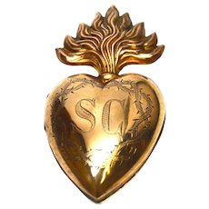 Large Antique Nineteenth Century Gilded Brass Sacred Heart Reliquary Ex Voto