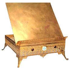 Antique Nineteenth Century Gilded Brass Lutrin/Socle Bible Stand