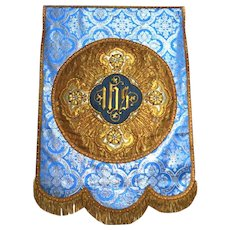 Large RARE Antique Napoleon III French Metallic Gold and Silver Embroidery Religious Banner
