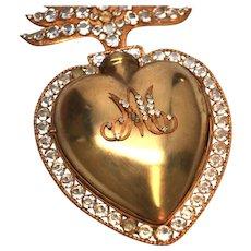 Rare, GRANDIOSE Antique Nineteenth Century French Gilded Sacred Heart Reliquary Ex Voto