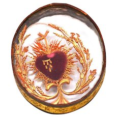 Antique Nineteenth Century Napoleon III French Sacred Heart Paperolle Reliquary Ex Voto