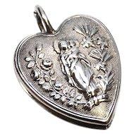 Antique Nineteenth Century Double Side Nun's Ex Voto Sacred Heart