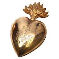 Antique Nineteenth Century Gilded Brass Ex Voto Sacred Heart