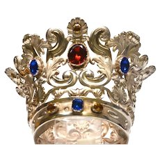 Rare Antique French Silver Plate Santos Crown with Large Glass Stones