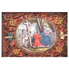 Antique Nineteenth Century Framed Paperolle Monastery Reliquary with Colored Lithograph Medallion