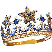 LARGE Antique Nineteenth Century French Gilded Brass Couronne de Vierge Diadem Crown