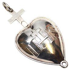 Antique Nineteenth Century Silver French Nun's Pectoral Heart of Jesus Reliquary