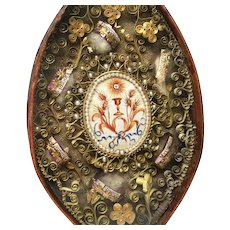 Antique Nineteenth Century Paperolle Monastery Work Reliquary with Hand Painted Medallion