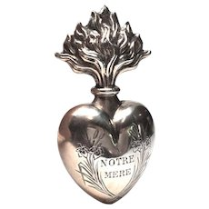 Antique Nineteenth Century French Silver Sacred Heart Ex Voto Reliquary