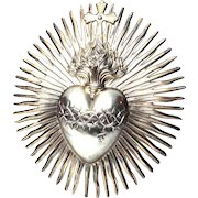 RARE LARGE Antique Napoleon III Era French Silver Rayonnant Crown of Thorns Sacred Heart Ex Voto