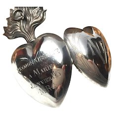 Antique Nineteenth Century French Silver Sacred Heart Ex Voto Reliquary With Engraved Inscription