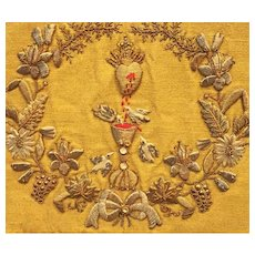 Antique French Religious Bourse Corporal with Metallic Embroidery and Strass