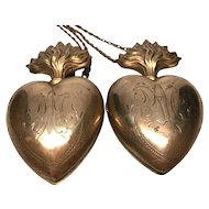 RARE MATCHING PAIR French Antique Nineteenth Century Entwined Sacred Heart Ex Voto