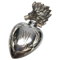 Antique Nineteenth Century French Silver Sacred Heart Ex Voto Flacon