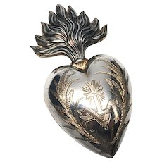 Stunning Vermeil Silver Antique Nineteenth Century French Silver Ex Voto Sacred Heart