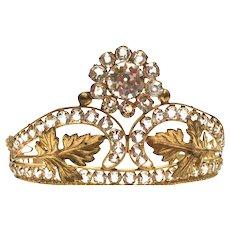 Antique Nineteenth Century French Gilded Brass Diadem Santos Crown