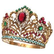Antique Nineteenth Century French Gilded Brass Madonna Santos Diadem Crown