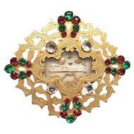 Antique Nineteenth Century Gilded Brass Glass Stones French Reliquary Ex Voto