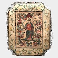 RARE and Precious Antique Eighteenth Century French Hand Colored Wood Cut Engraving and Embroidery Devotional Monastery Work