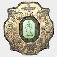 RARE Eighteenth Century Monastery Work Paperolle Metal Embroidery Reliquary Ex Voto with Portrait of St. Catherine