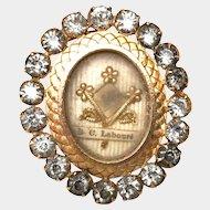 Antique Nineteenth Century Pendantif Gilded Bronze and Brass French Reliquary Ex Voto