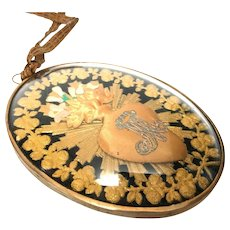 Antique Nineteenth Century Gilded Brass Framed French Sacred Heart Ex Voto Under Glass