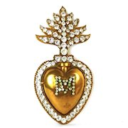 Antique French 19th Century Sacred Heart of Mary Ex Voto Reliquary