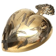 LARGE , Superior Antique Nineteenth Century French Vermeil Sacred Heart Ex Voto