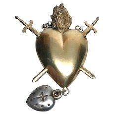 Rare Antique French Convent Pierced Sacred Heart Agnus Dei Ex Voto