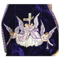 Antique Nineteenth Century French Ecclesiastic Velvet Embroidered Religious Chasuble with Sacred Heart Medallion