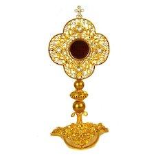 Splendid Antique French Gilded Brass Reliquaire/Reliquary/Monstrance