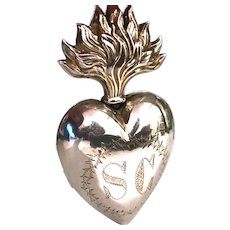 Antique Nineteenth Century French Silver Vermeil Sacred Heart Ex Voto