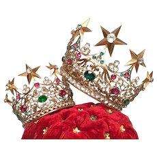 RARE PAIR Napoleon III Era French Cast Bronze Brass Santos Crowns