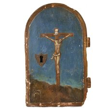 Antique French 18th Century Hand Painted Tabernacle Door