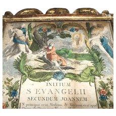 Antique Eighteenth Century Gilded Wood, Hand Colored Engraving, Biblical Altar Panel, Gospel of John