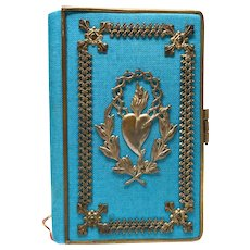 Antique Nineteenth Century French Prayer Book with Pierced Sacred Heart Mount