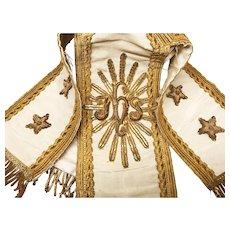 Antique Napoleon III Era French Chalice Ciborium Veil with Gilt Metal Embellishment