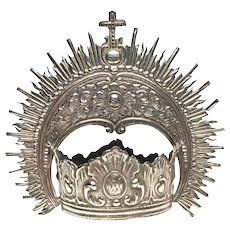 Rare Antique Nineteenth Century Italian Silver Santos Crown with Magnificent Halo
