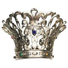 Extraordinary Life Sized Silver hand Cut French Napoleon III Jewel Crown