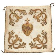 Antique Nineteenth Century Metallic Brocade Pierced Sacred Heart Religious Pall
