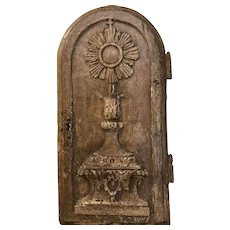 Antique Eighteenth Century Solid Wood Hand Carved Religious Tabernacle Door