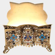LARGE Antique Nineteenth Century Gilded Bronze Religious Lutrin with Sacred Heart Enamel Medallion