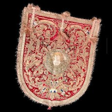 Antique Seventeenth Century Italian Velvet and Embroidered Ecclesiastical Textile