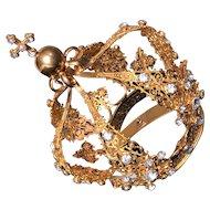Opulent Nineteenth Century French Gilded Bronze Filigree Santos Crown
