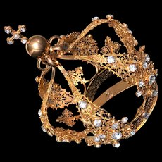 Opulent Nineteenth Century French Gilded Bronze Filigree Santos Crown
