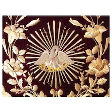 Antique Napoleon III Era French Velvet and Giltwork Embroidery Ecclesiastic Cope Hood