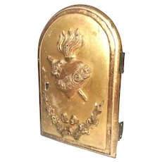 Antique 18th Century French Gilded Wooden Sacred Heart Religious Tabernacle Door