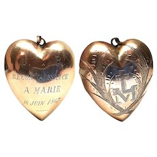 Antique Napoleon III Era French Vermeil Sacred Heart Ex Voto with Inscription circa 1867