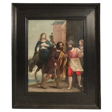 "Antique 17th Century French Painting on Copper Panel ""Mary and Joseph Enter Bethlehem"""
